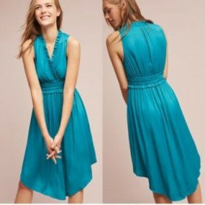 "ANTHROPOLOGIE Maeve ""La Habana"" Dress Xs blue midi"